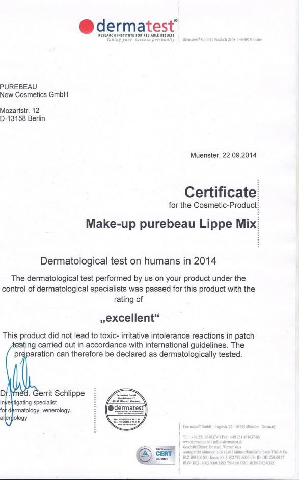 Certificate make-up purebeau Lippe Mix