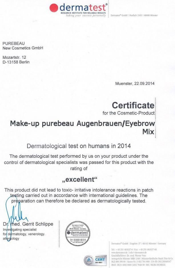 Certificate make-up purebeau Augenbrauen / Eyebrow Mix